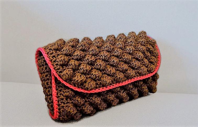 Brown Bobble Pochette Crochet Pattern