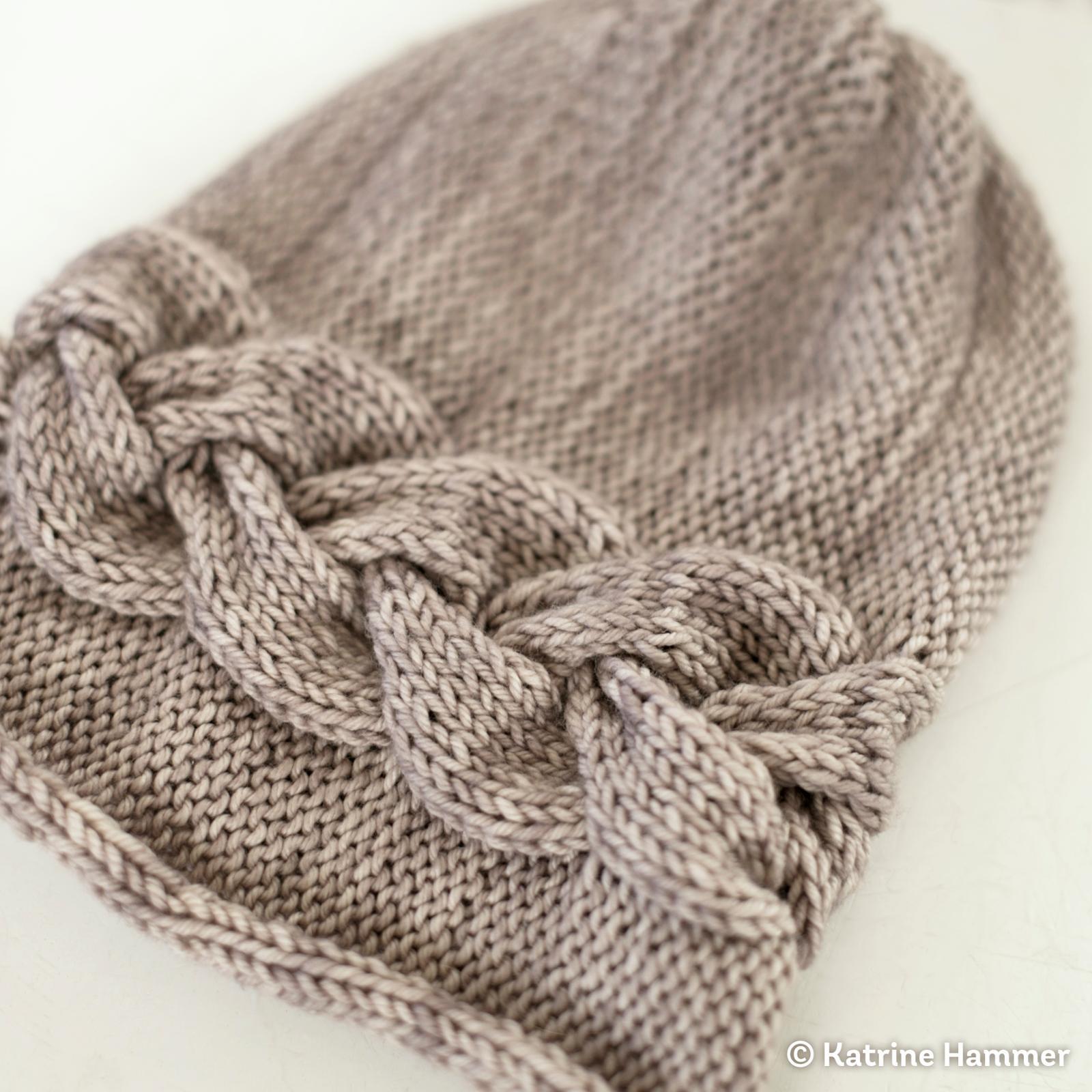Sideways Braid Beanie Knitting Pattern
