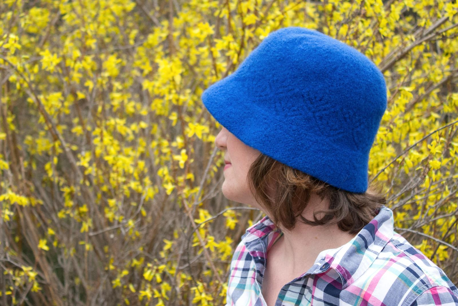 Blue Felted Cloche