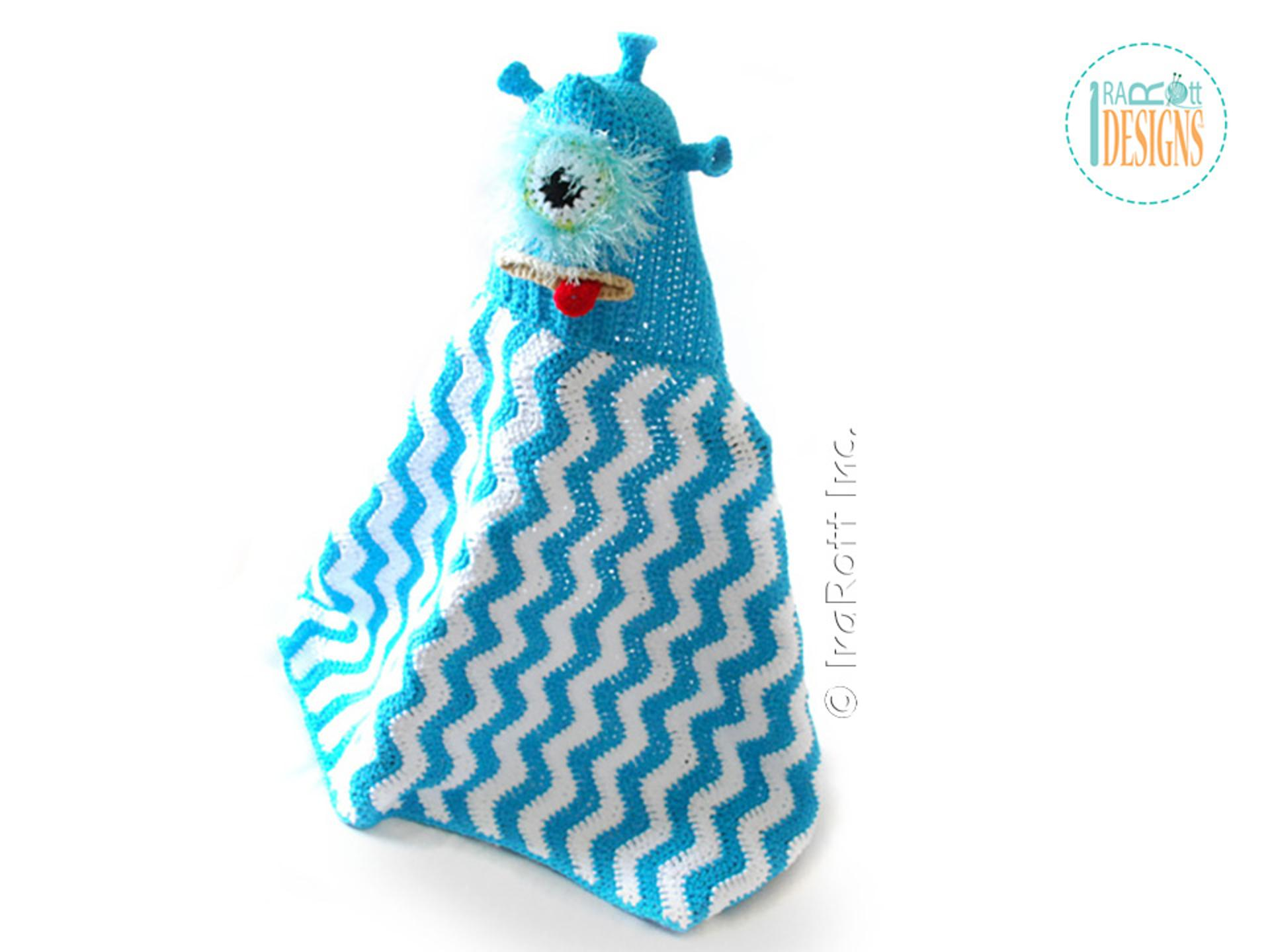 alien monster hooded crochet blanket