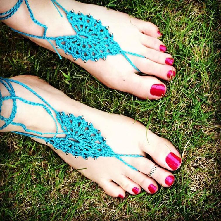 beaded boho barefoot sandals crochet pattern