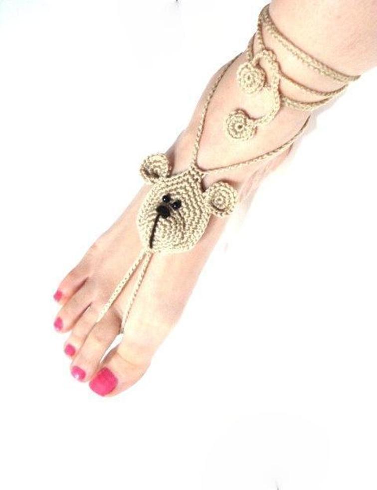 crochet bear barefoot sandals