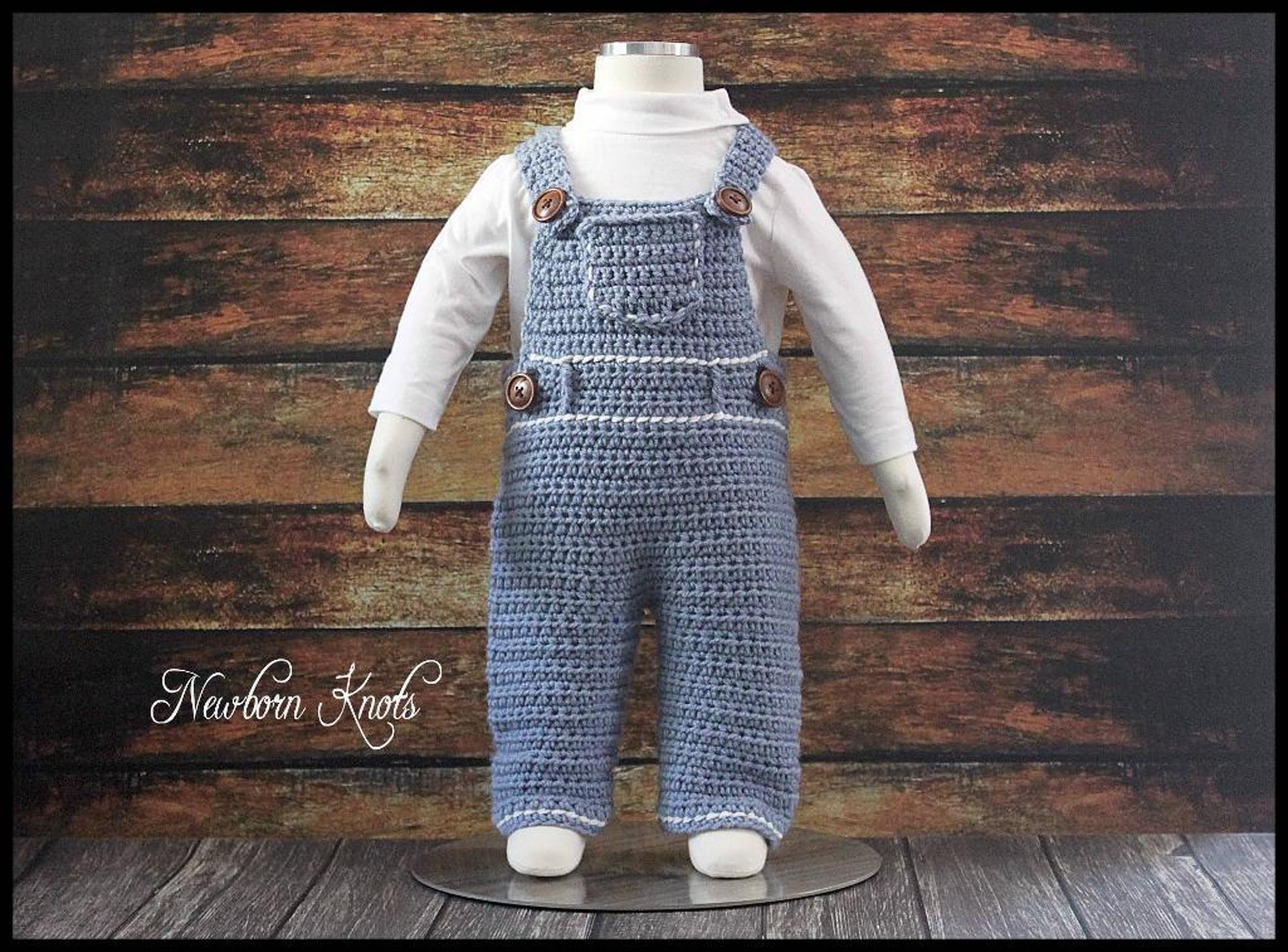 denim baby overalls crochet pattern
