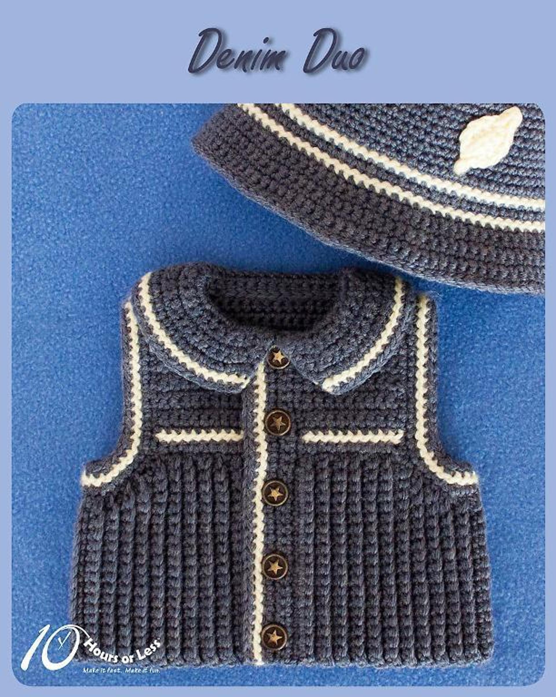 denim baby vest and hat crochet pattern