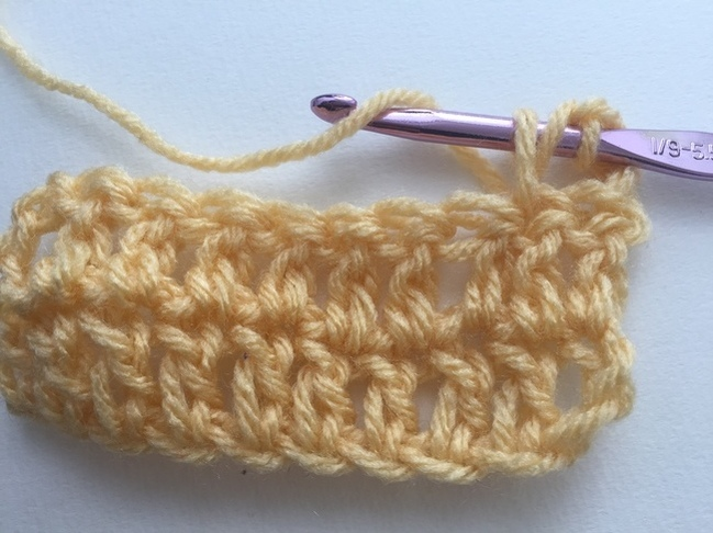 how to double crochet, step 5