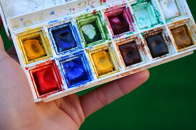 Watercolor in a pan