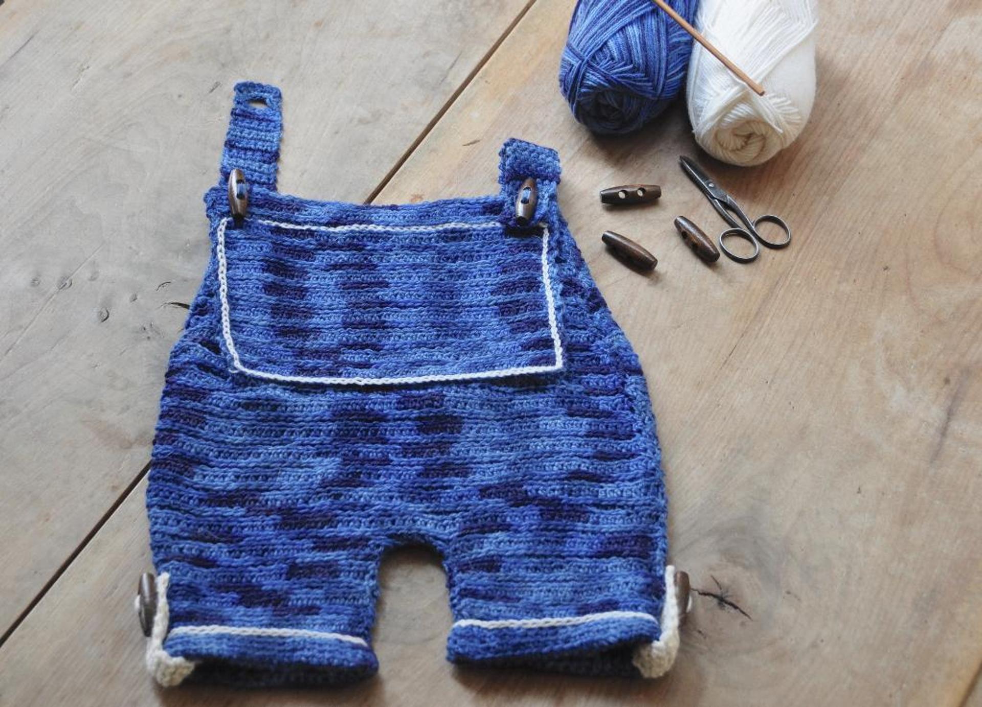 patchwork denim dungarees crochet pattern
