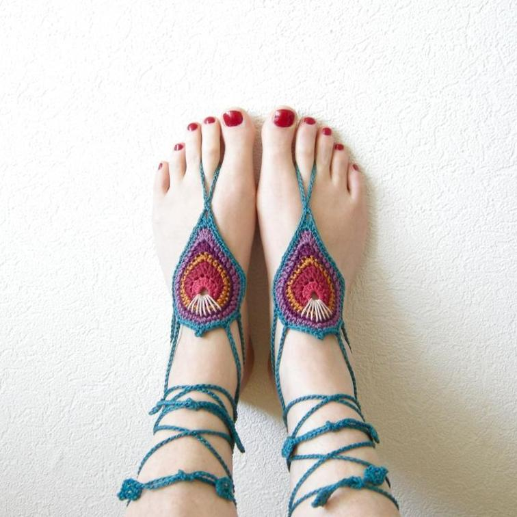 peacock crochet barefoot sandals