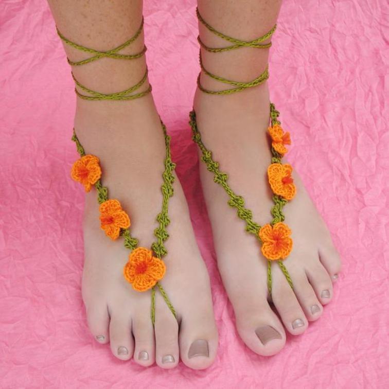 poppy barefoot sandals crochet pattern