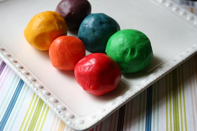 Rainbow portions of dough
