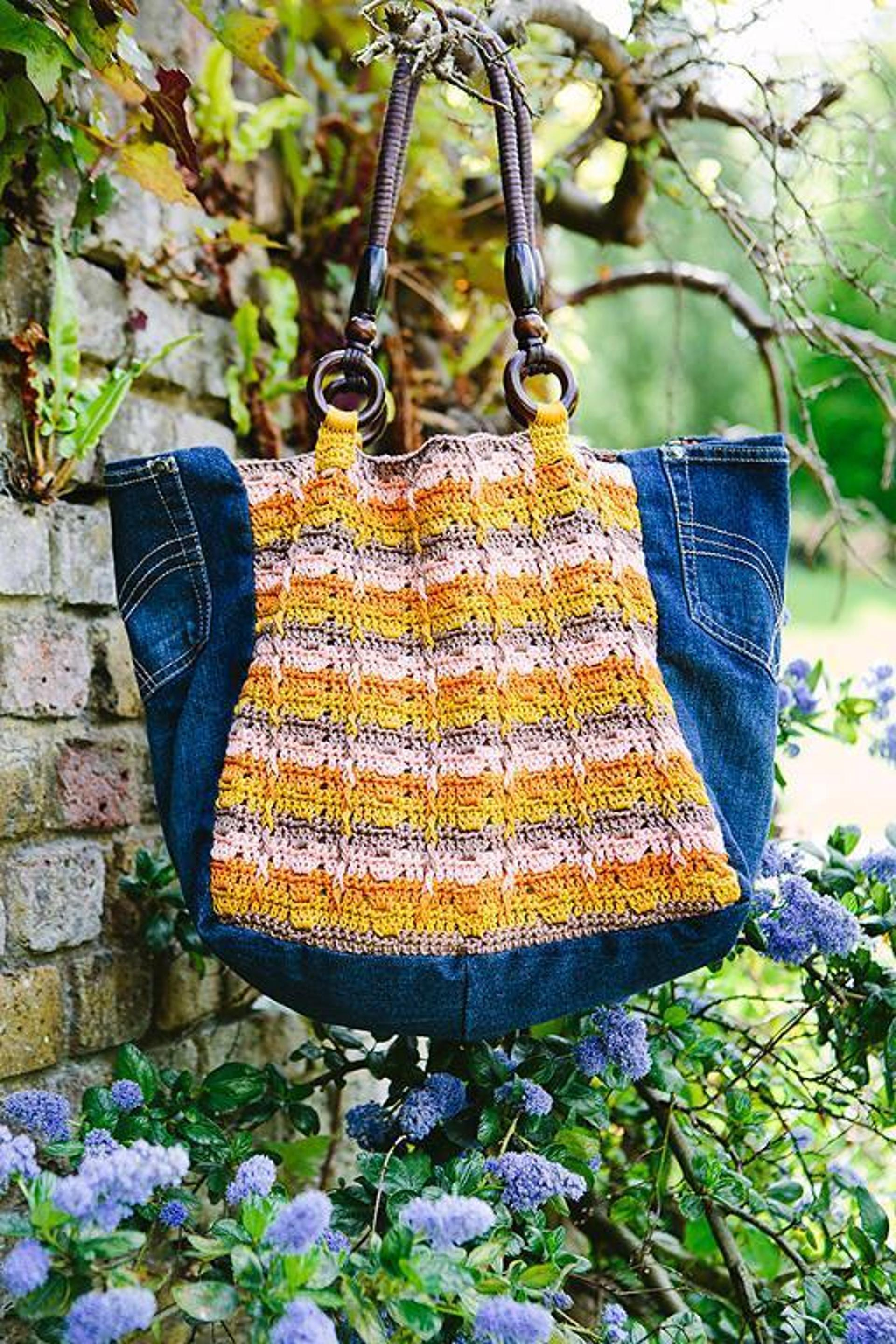 upcycled denim and crochet tote