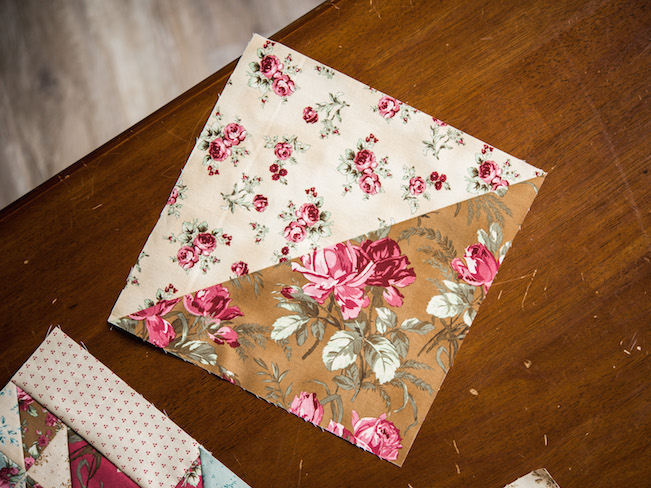 Half Square Triangle Made in Rosemoor Fabric