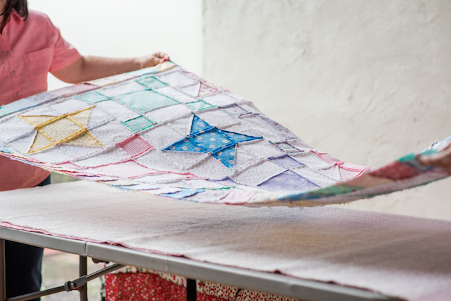Layering The Quilt Sandwich for Spray basting
