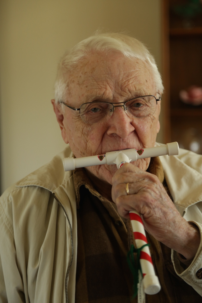 Paul Schuller and his candy cane whistle