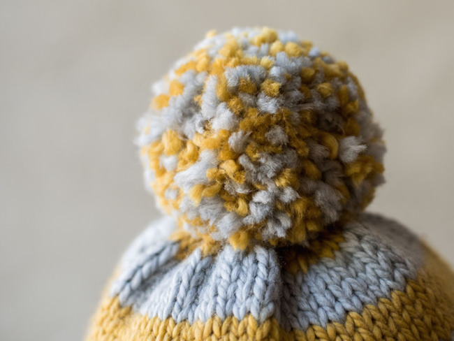 Yellow and Gray Pom Pom