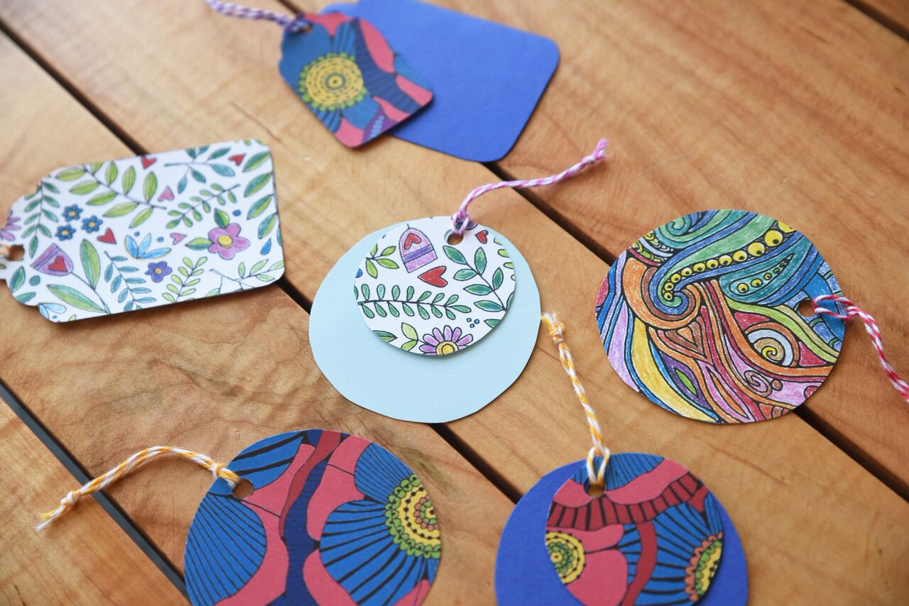 handmade coloring page gift tags