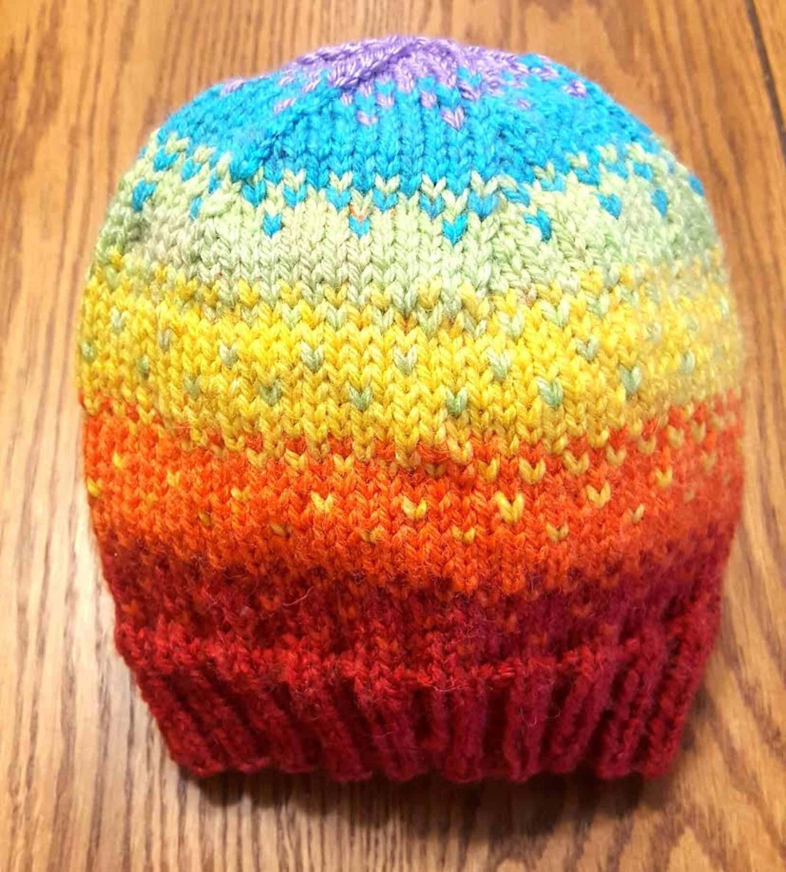 Rainbow Fade Hat Knitting Pattern