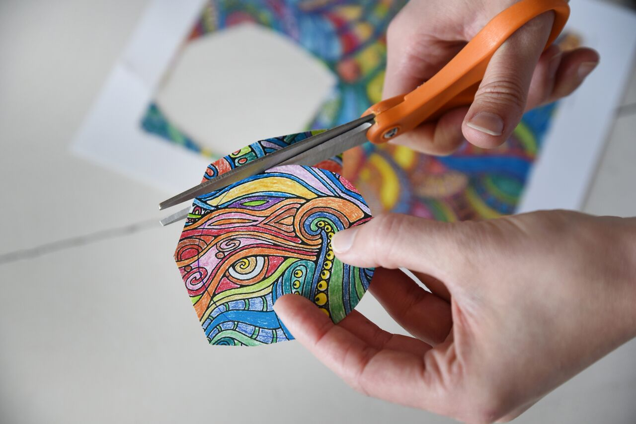 cutting out the traced gift cards