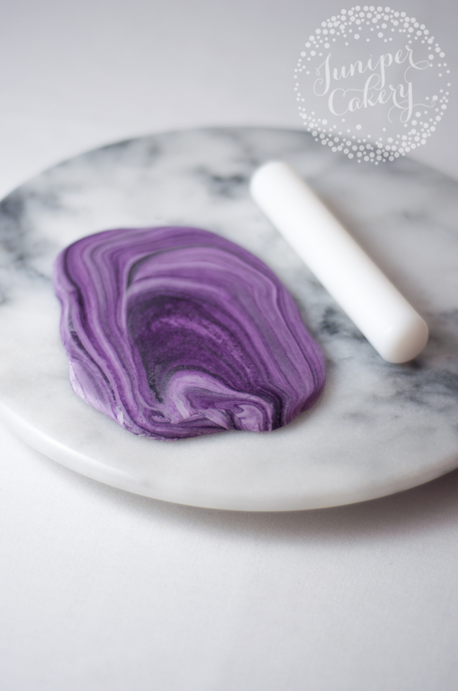 rolling out agate topper using rolling pin
