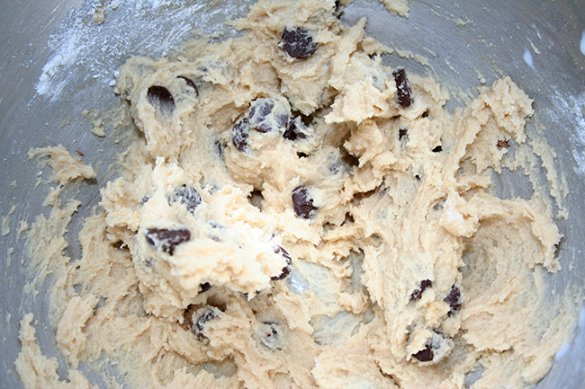 mixing chocolate chip cookie dough