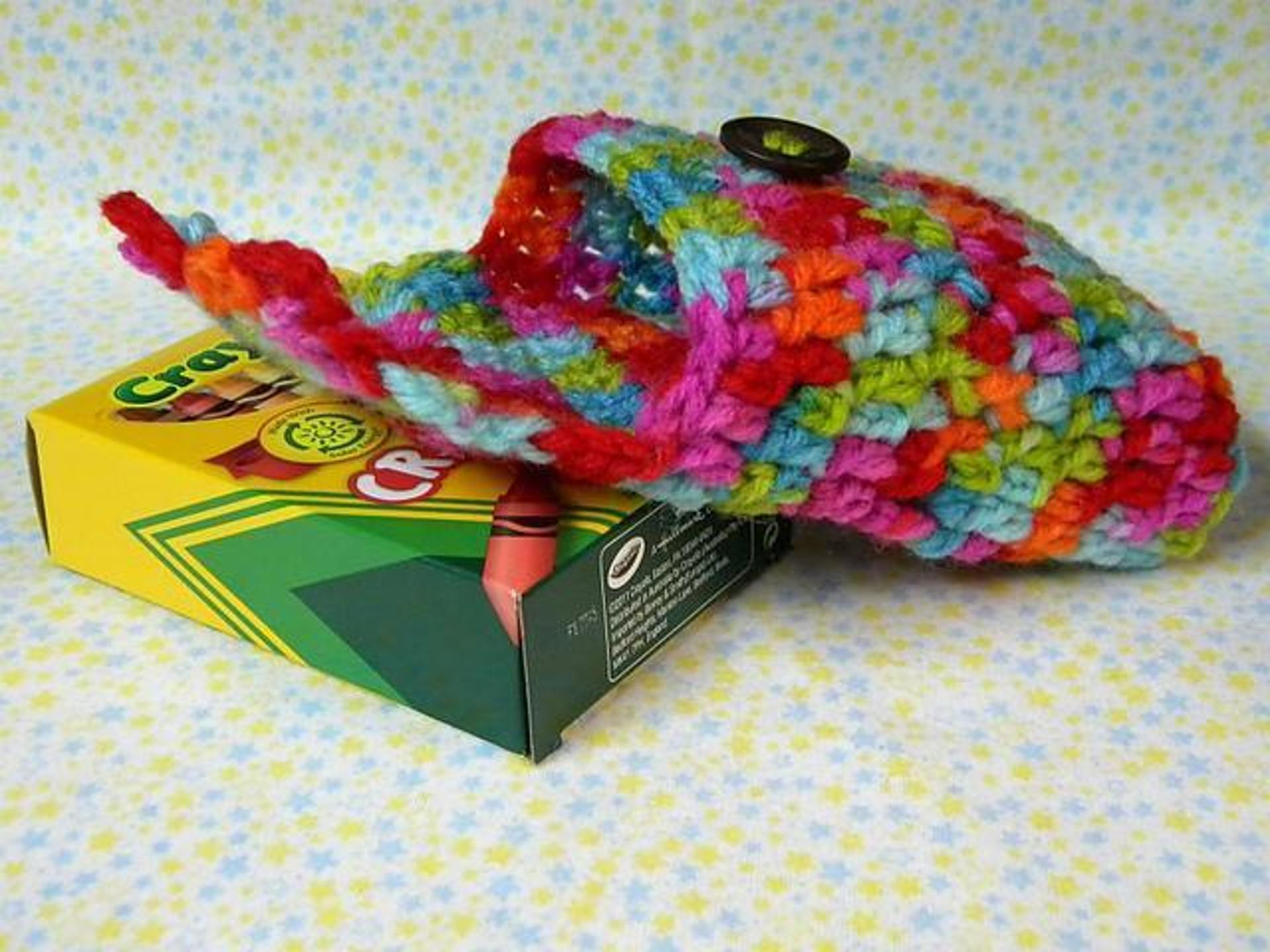 crayon box crochet cozy