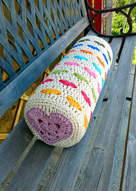 crochet heart bolster cushion pattern