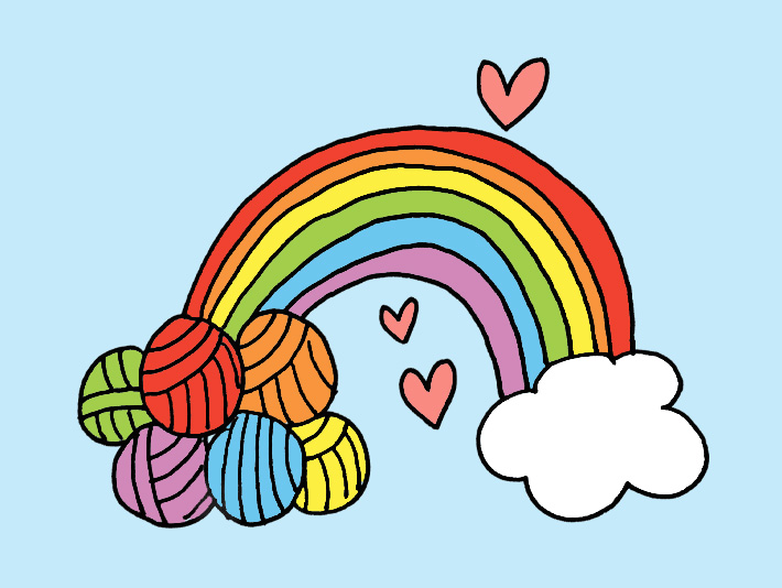 rainbow with yarn, magical