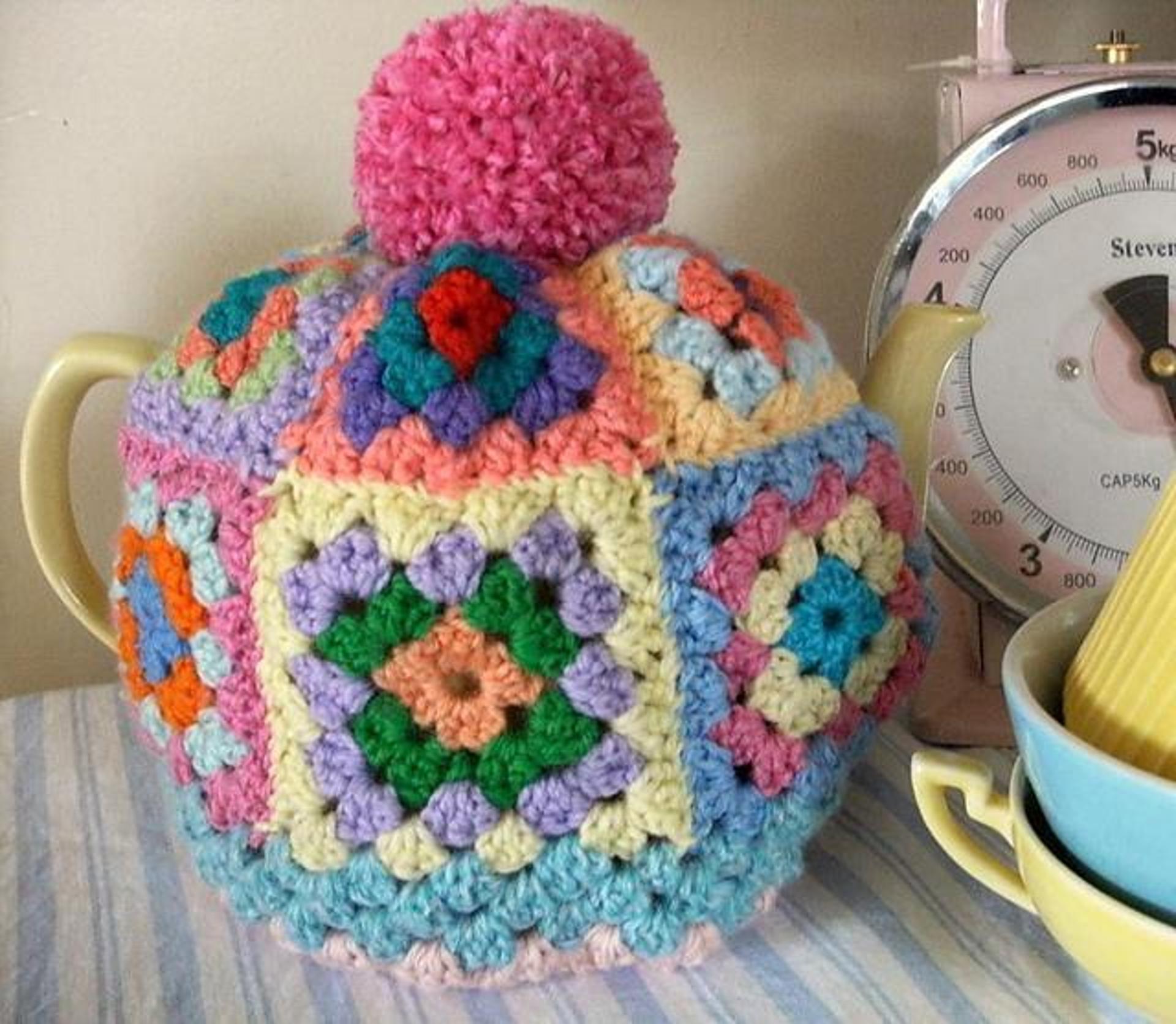 granny square teapot cozy