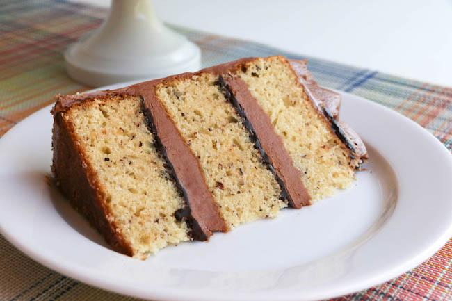 Slice of Hazelnut Cake with Chocolate Hazelnut Ganache and Buttercream | Erin Gardner