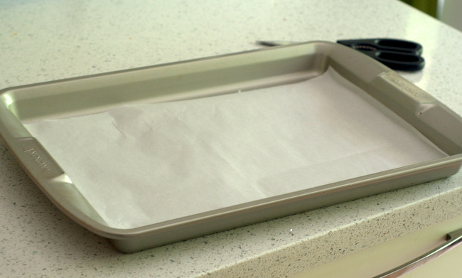 Jelly Roll Pan, Lined with Parchment Paper