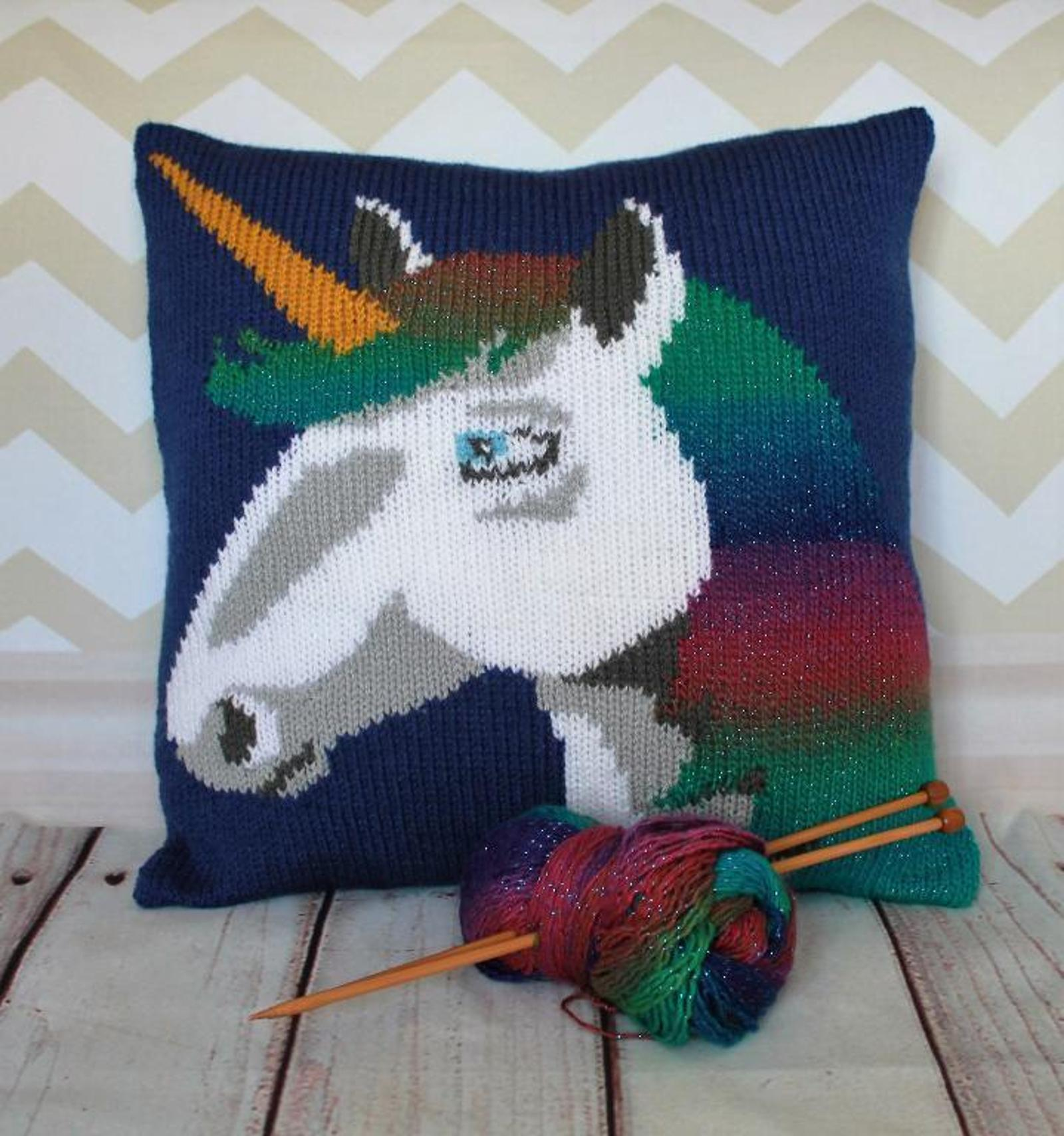 Magical Unicorn Cushion Cover Knitting Pattern
