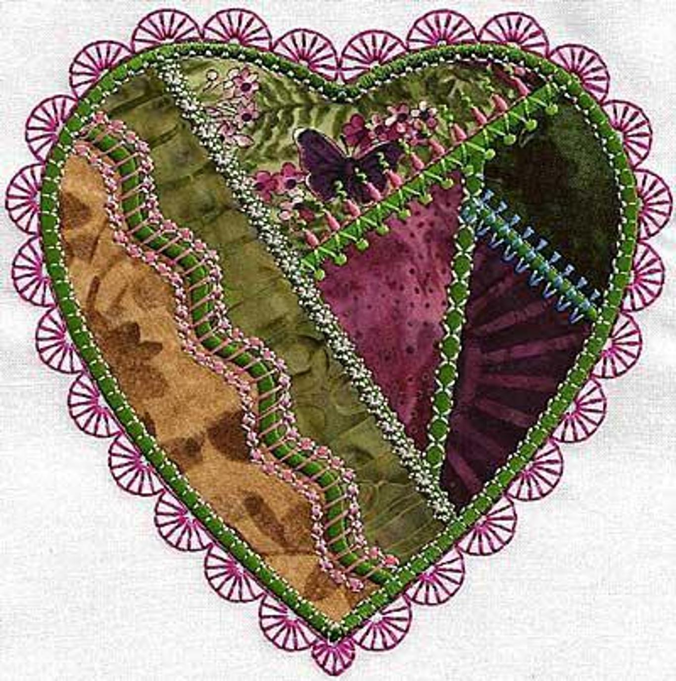 Crazy quilt machine embroidery.