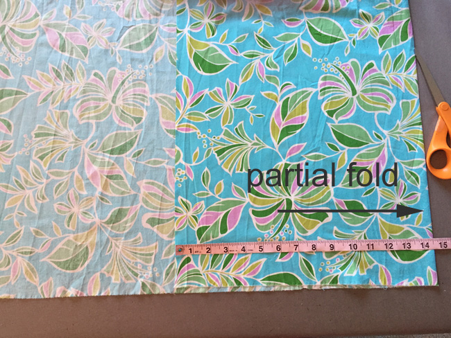partial fold for cutting out pattern