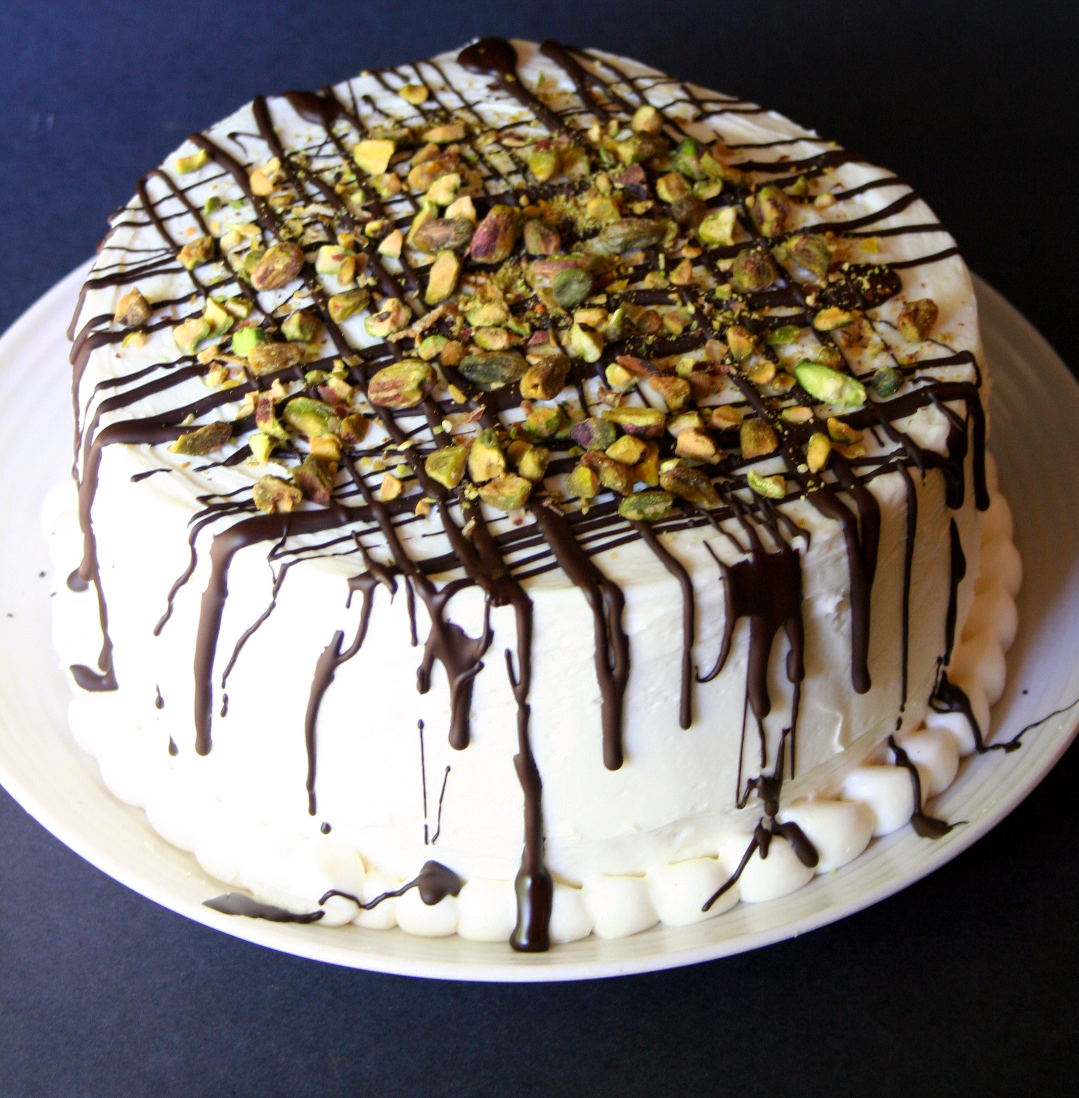 Finished, whole pistachio cake