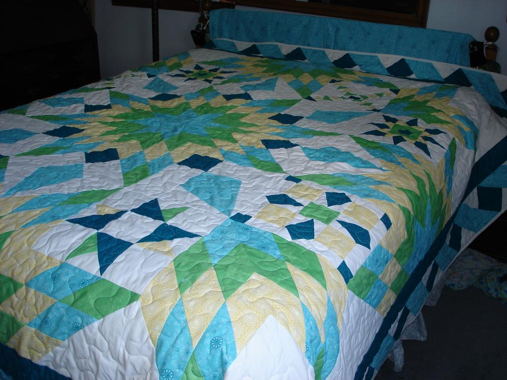Blazing Star Quilt on Bed
