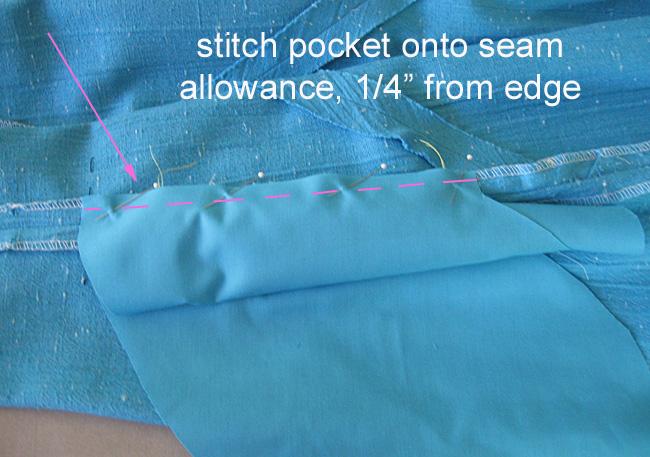 sew second pocket bag