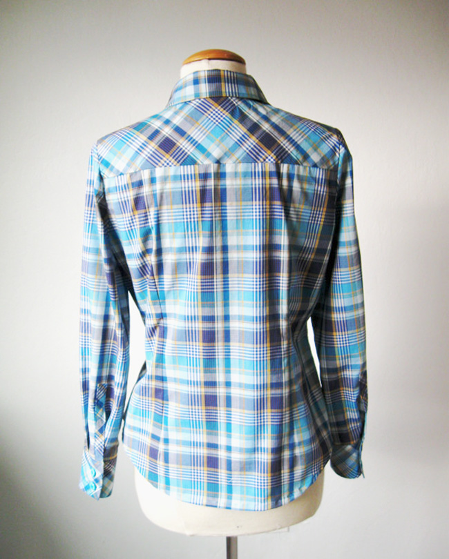 shirt with yoke cut on bias