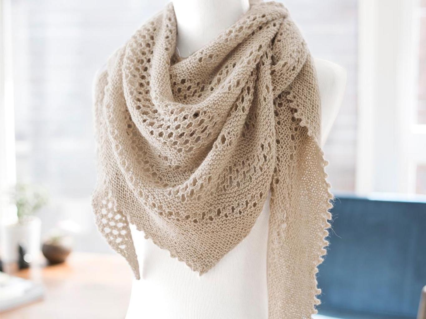 Hot Oatmeal Lace Shawl Knitting Kit