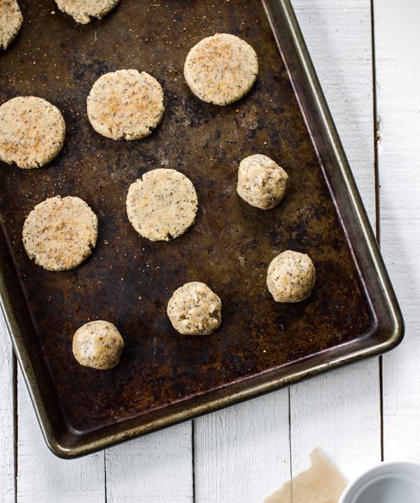 Lemon Poppyseed cookies on Cookie Sheet