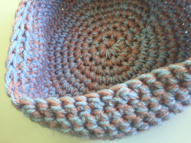 inside of crochet bowl