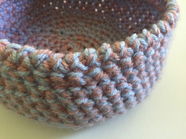 reverse single crochet on bowl