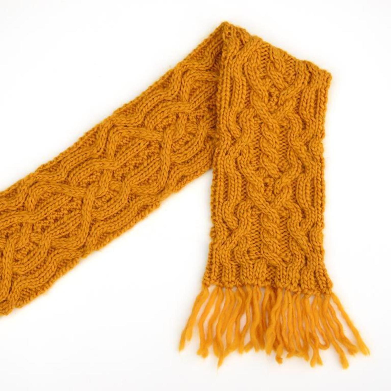 Double Mustard Reversible Cable Scarf