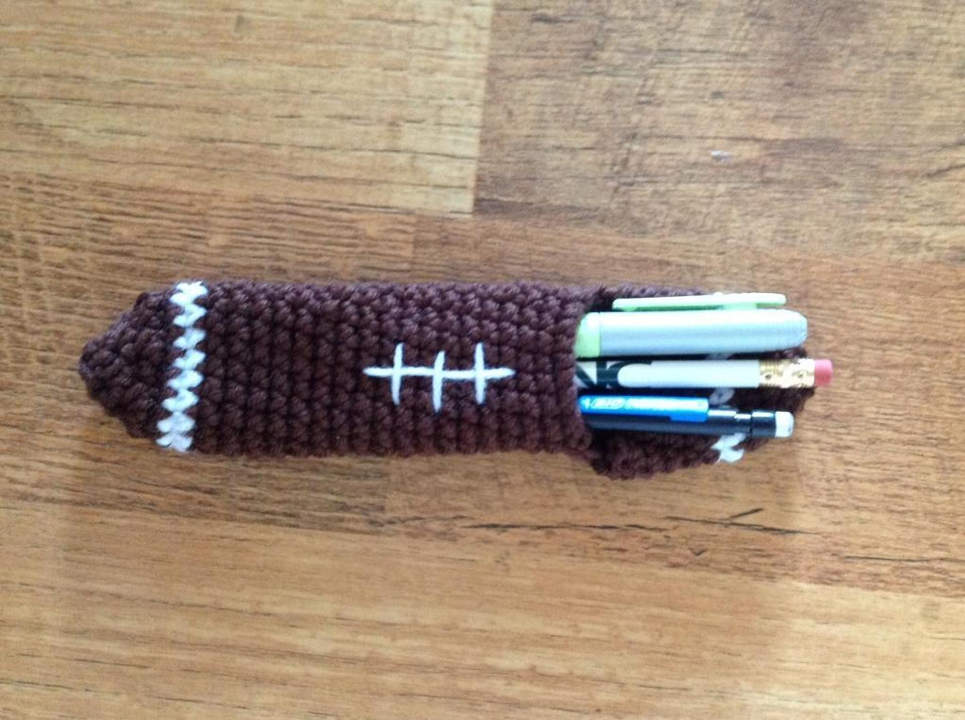 football pencil holder crochet pattern