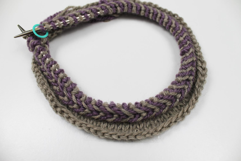 Knitting a Latvian braid progress