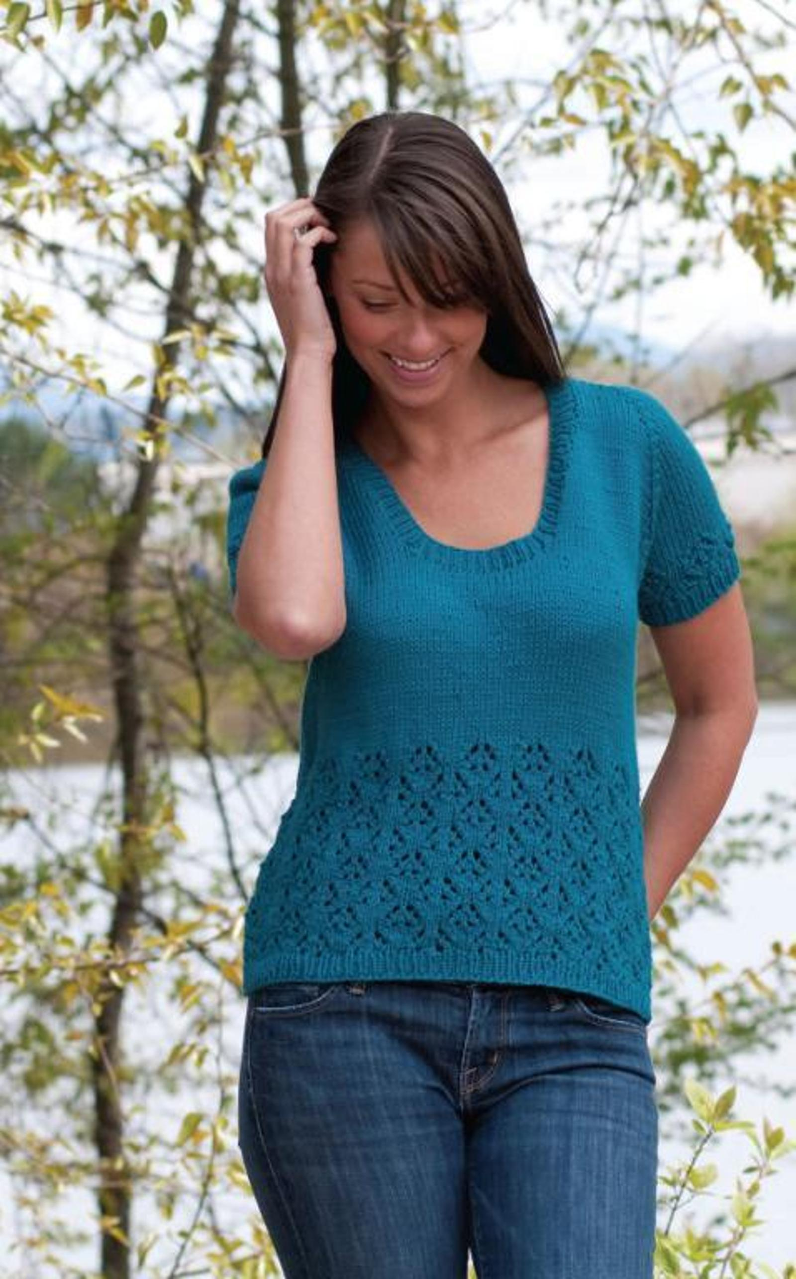 Lace Top Down T Shirt Knitting Pattern