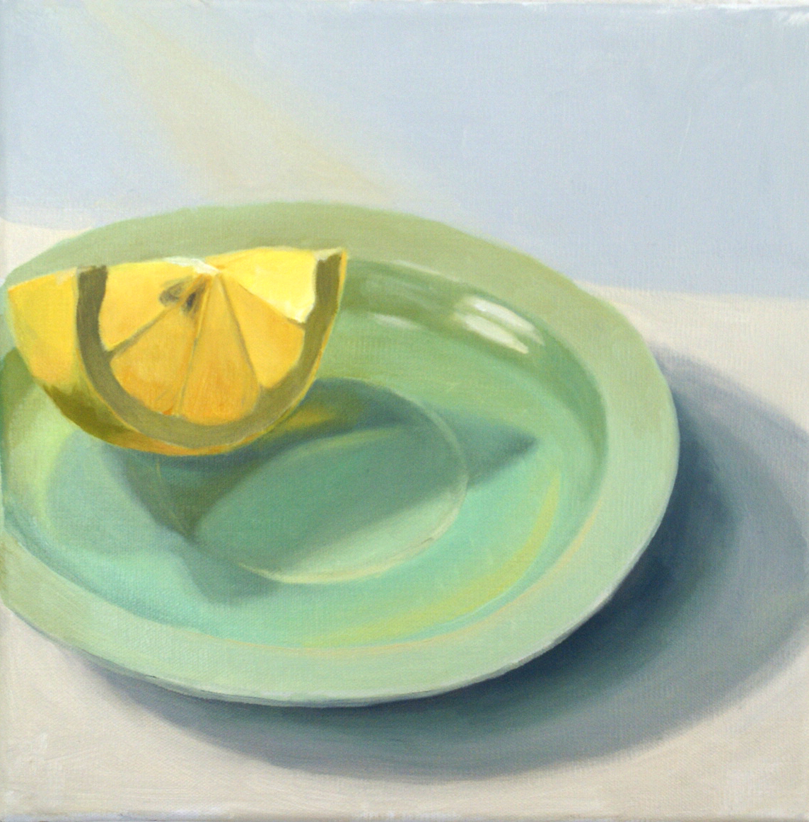 lemon wedge on a plate, oil painting
