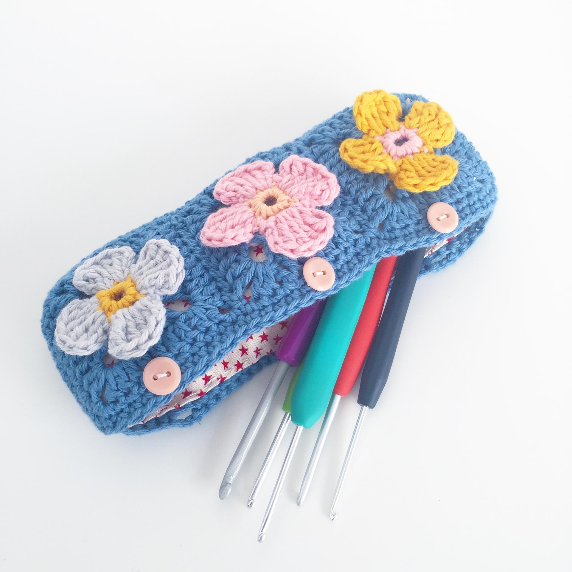 petal square pencil case crochet pattern