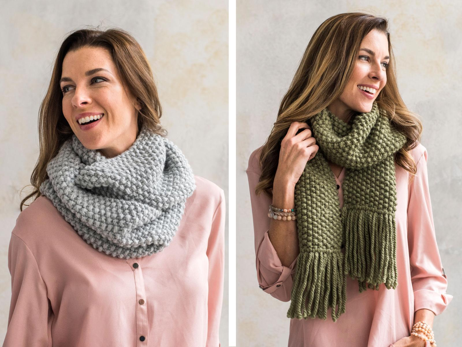 Quick and Easy Seed Stitch Scarf or Cowl Kit