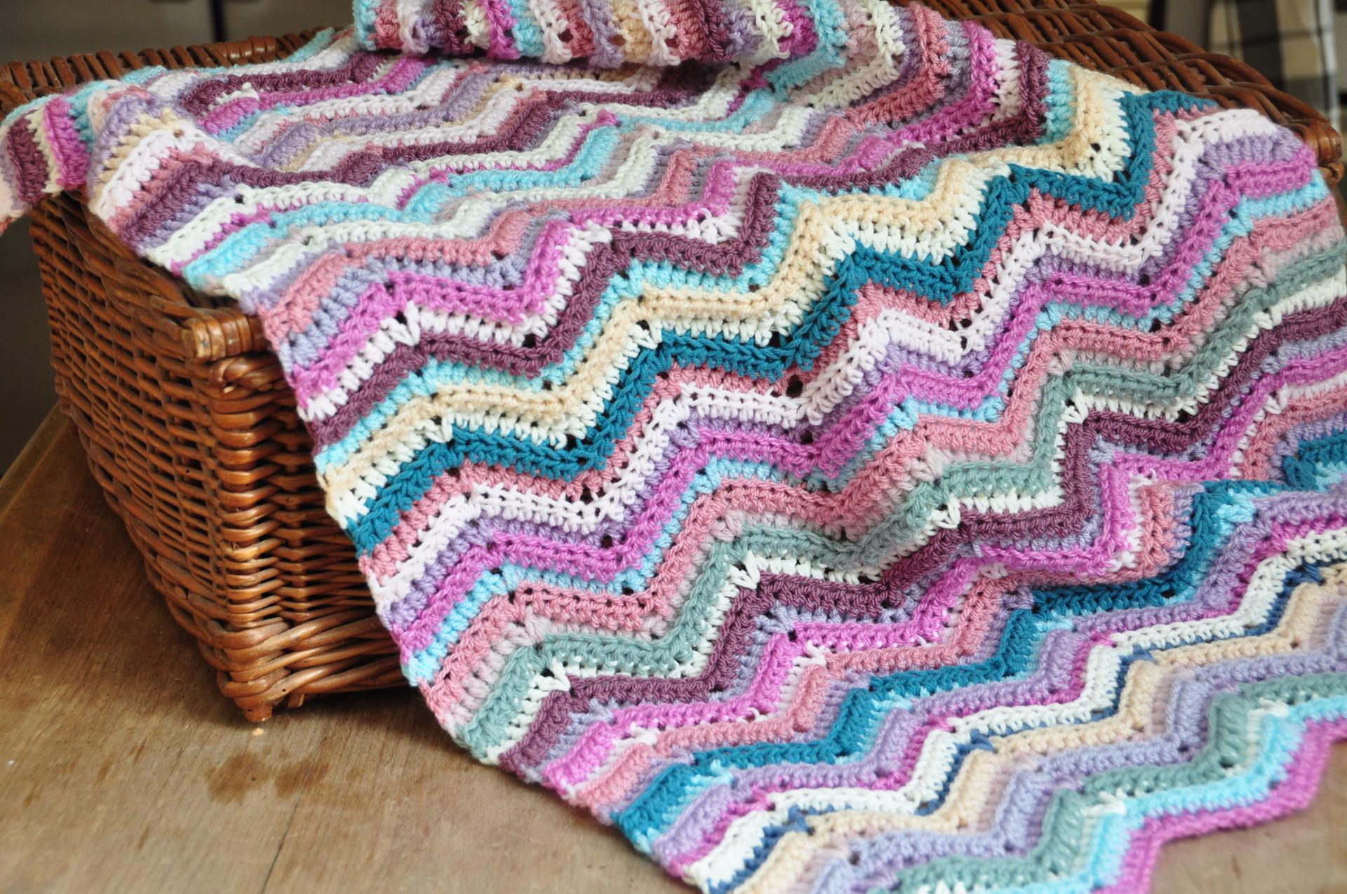 ripple stitch crochet blanket free pattern