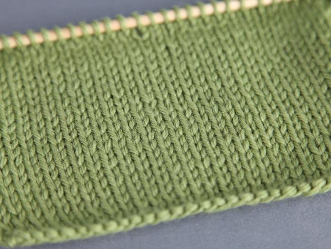 Stockinette Stitch in Green Yarn